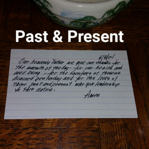 index card prayer on wood table