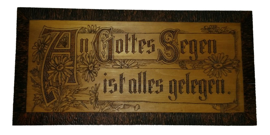 old German engraved wood plaque